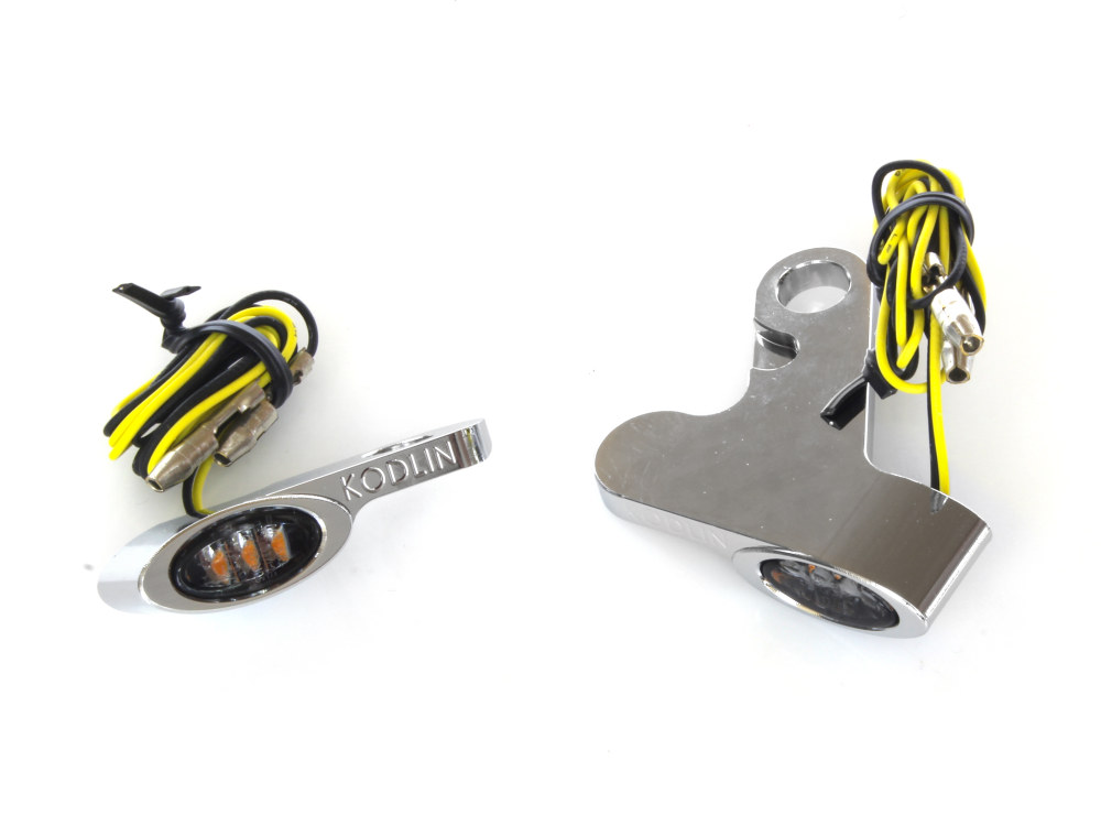 Elypse Under Perch Turn Signals – Chrome. Fits Softail 2015up & Touring 2009up Models with Cable Clutch.
