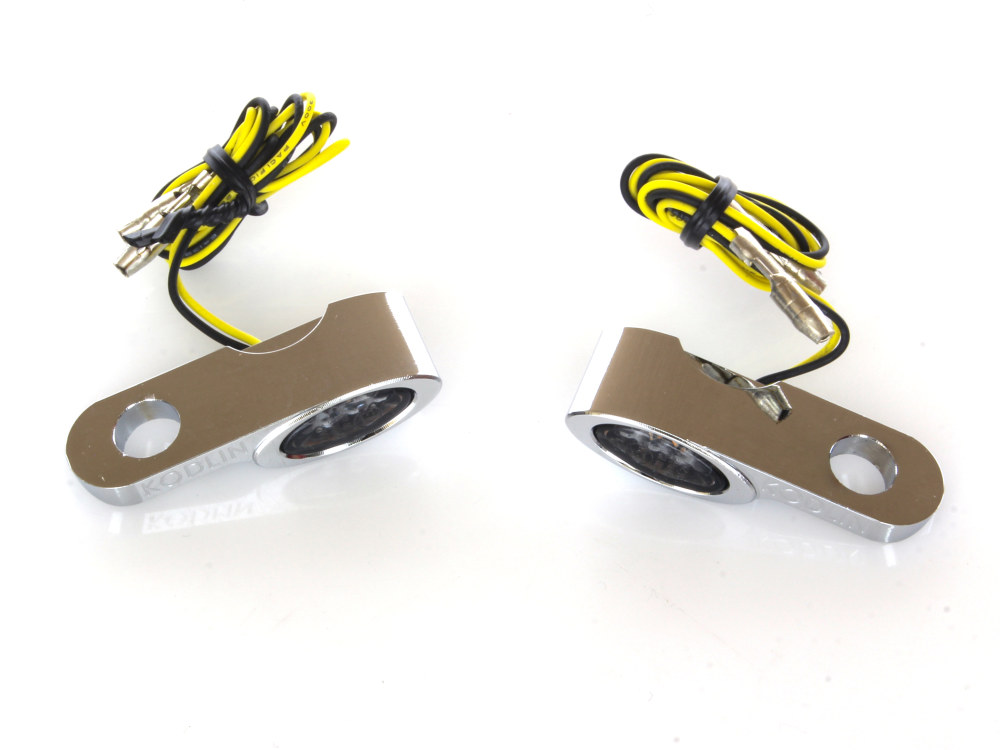 Elypse Under Perch Turn Signals – Chrome. Fits Most Models with Cable Clutch.
