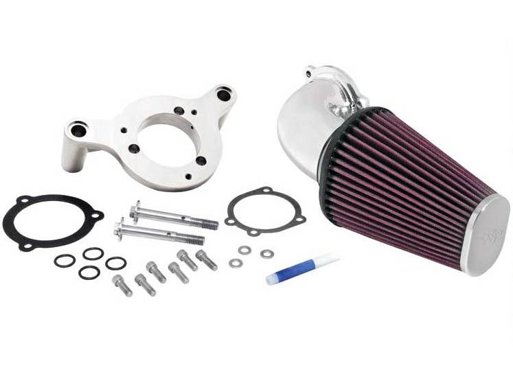Air Filter Assembly; Big Twin'93up. Forward Facing Aircharger with High Flow Element & Polished Finish.