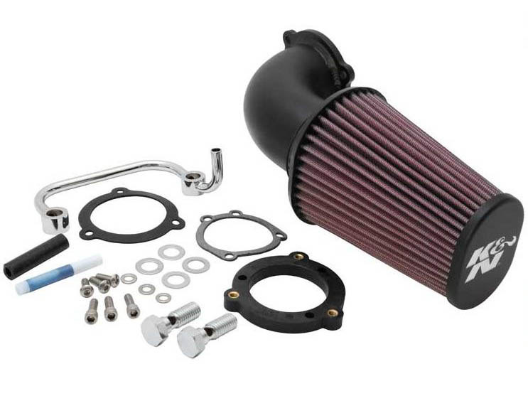 Air Filter Assembly; Sportster'07up. Forward Facing Aircharger with High Flow Element & Black Finish.