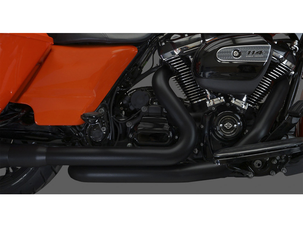 Right Side Tuck & Under Headers - Black. Fits Touring 2017up.