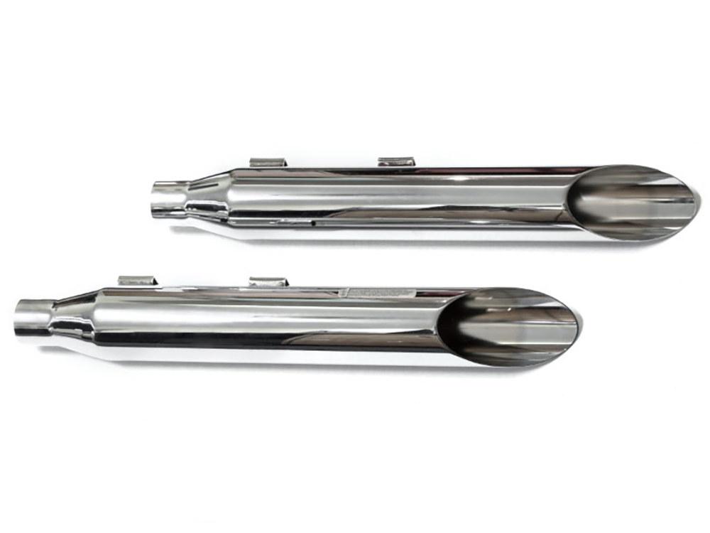 3in. HP-Plus Slash Cut Slip-On Mufflers - Chrome. Fits Softail FXST 2007-2017, Heritage Softail Classic 2007-2017, Breakout 2013-2017 & Rocker 2008-2011.