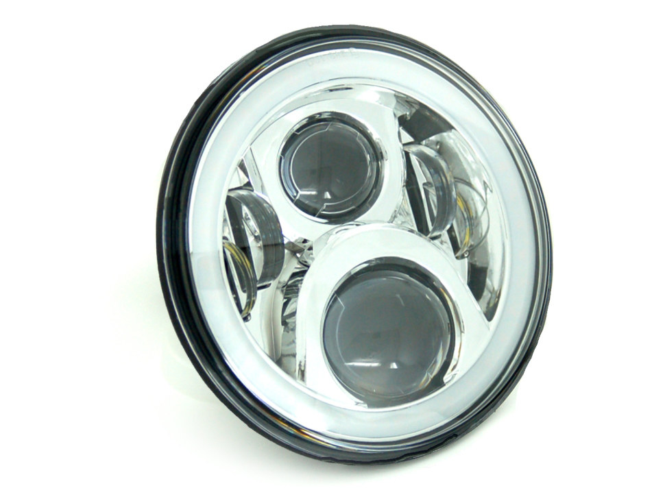 7in. LED HeadLight Insert with Halo – Chrome. Fts H-D, Indian Chief Classic & Dark Horse Models with 7in. Headlight.