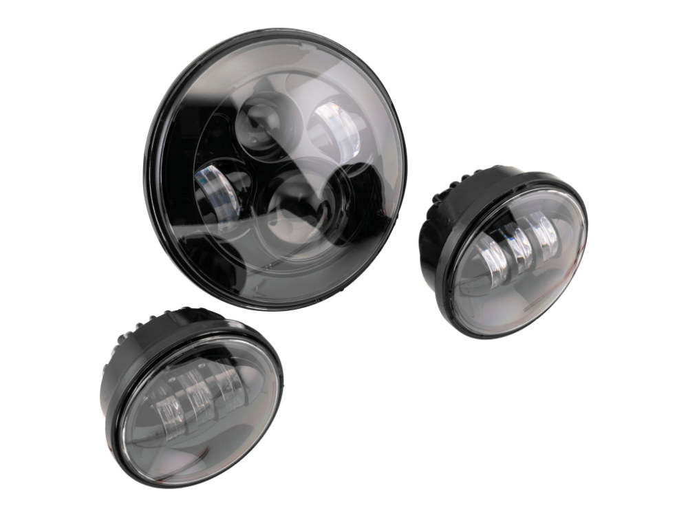 7in. HeadLight & 4.5in. Passing Lamps (2) Insert Bundle – Black. Fits H-D with 7in. Headlights & 4.5in. Passing Lamps.
