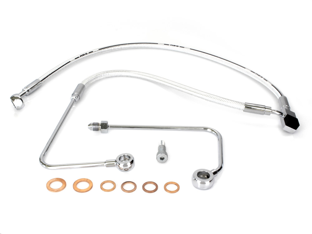 Stock Length Lower Brake Line with Sterling Chromite II Finish. Fits Softail 2011up & Breakout 2015up Models with Single Front Disc Caliper.