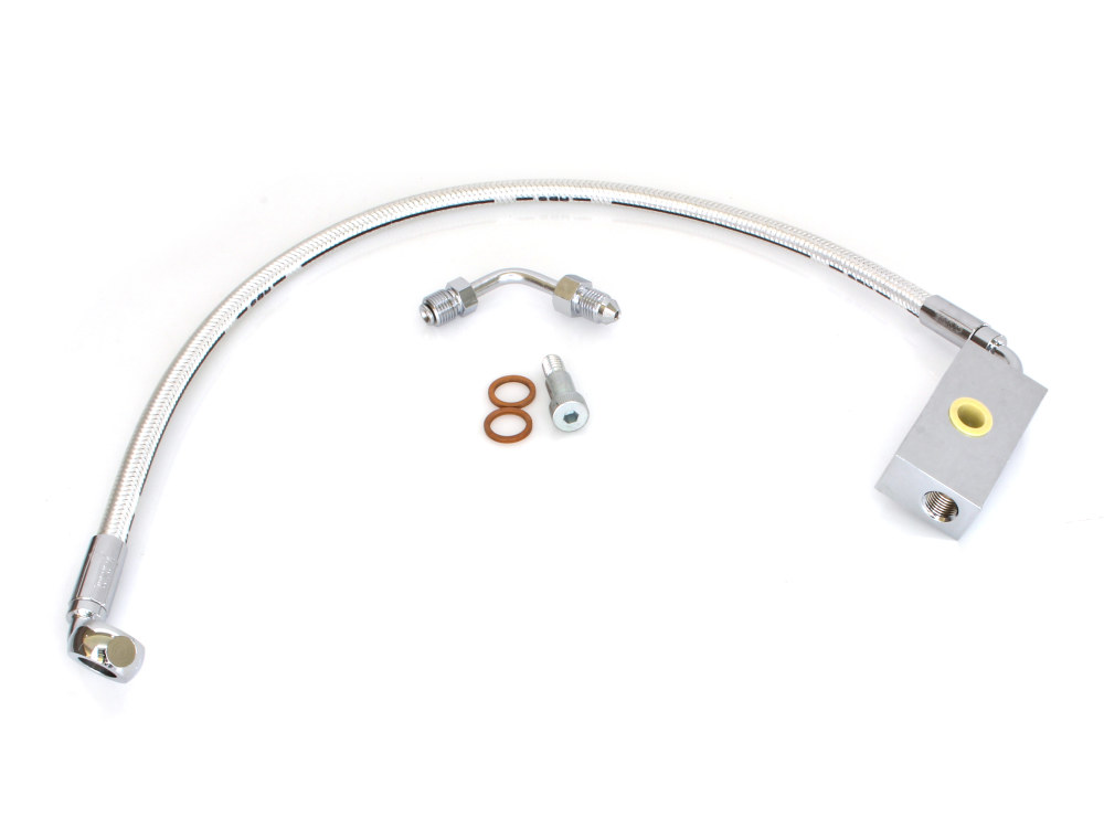 Stock Length Lower Brake Line with Sterling Chromite II Finish. Fits M8 Softail 2018up with Single Front Disc Caliper.