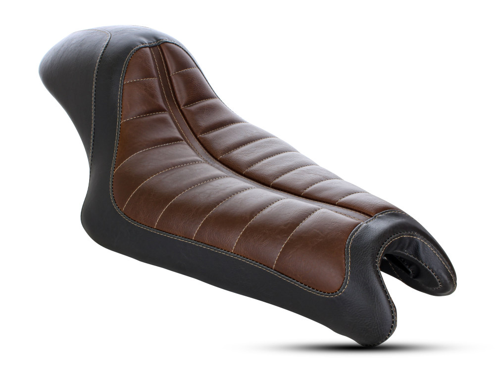 Roland Sands Design Enzo Cafe Solo Seat with Black & Brown Finish. Fits Sportster 2004up.