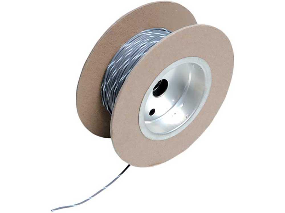 18-Gauge Wire – Grey with White Stripe.