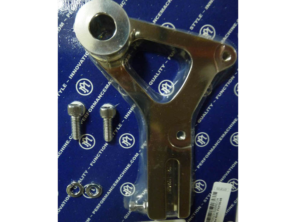 Right Hand Rear Caliper Mount with Chrome Finish. Fits Dyna 2000-2005 with 11.5