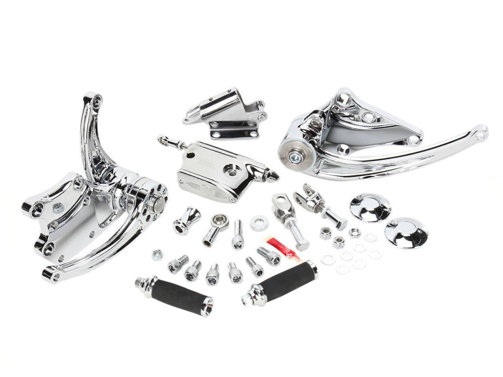 Standard Length Forward Controls with Stock HD Clevis & Chrome Finish. Fits Softail 2000up.