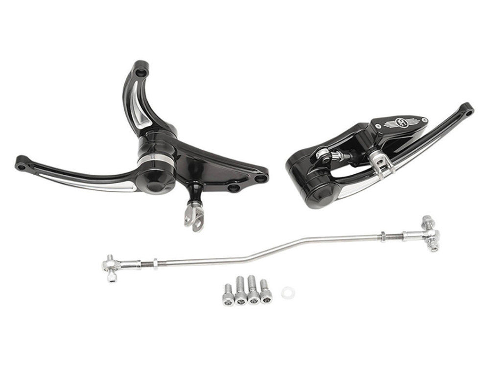 Extended Length Forward Controls with Stock HD Clevis & Contrast Cut Finish. Fits Softail 2000up.