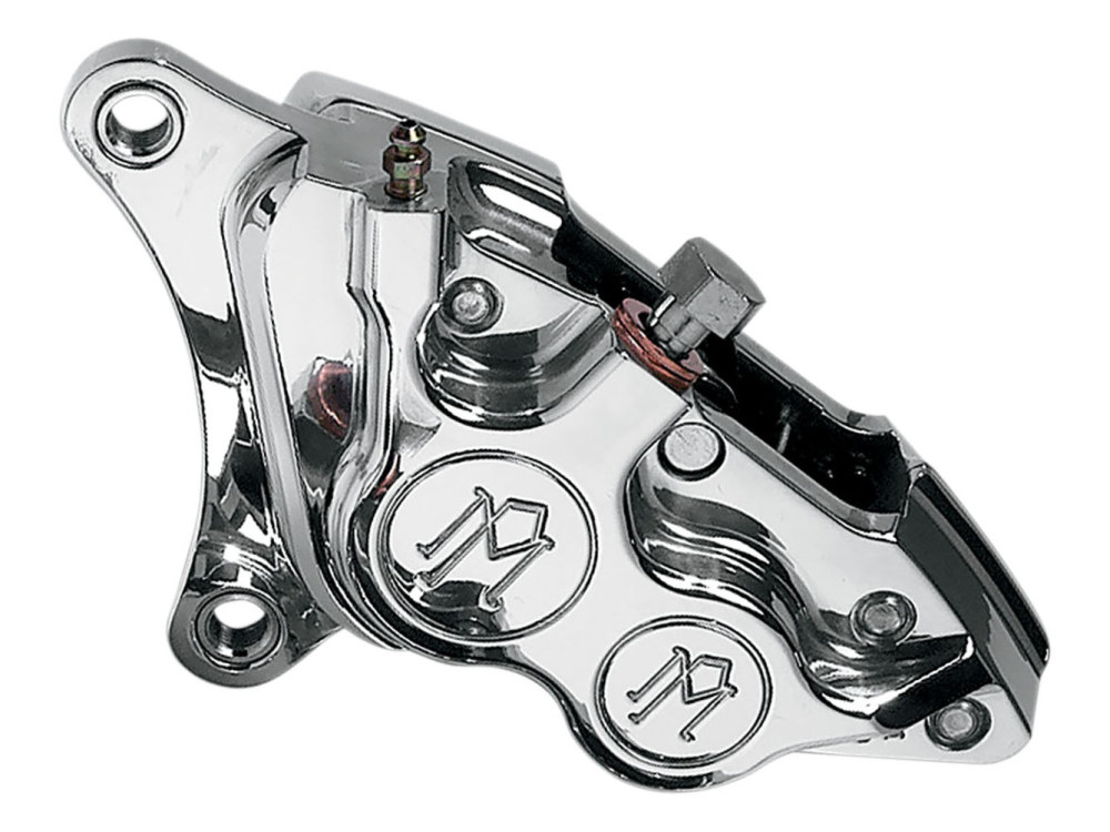 Left Hand Front 4 Piston Caliper with Polished Finish. Fits Softail 2000-2014, Dyna 2000up, Touring 2000-2007 & Sportster 2000-2007 Models with 11.5