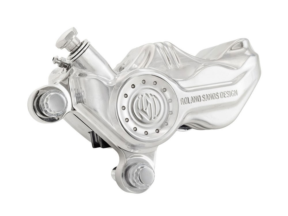Left Hand Front 4 Piston Roland Sands Design Caliper with Chrome Finish. Fits Big Twin 2000up & Most Sportster 2000up Models.
