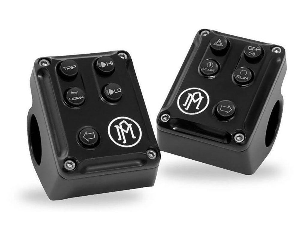 Left & Right Switch Housings with Contrast Cut Finish. Fit Softail & Dyna 2012up.