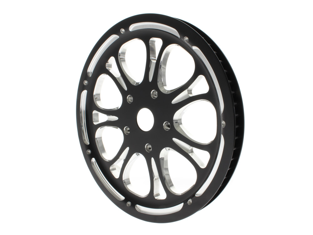 66 Tooth x 20mm Wide Heathen Pulley with Black Contrast Cut Platinum Finish. Fits Softail 2007-2011 with OEM 200 Rear Tyre.