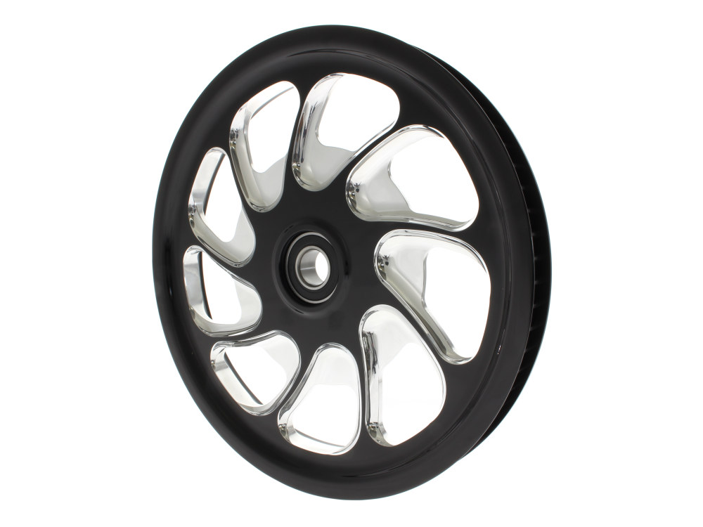 72 Tooth x 28mm Wide Torque Pulley with Black Contrast Cut Platinum Finish. Fits V-Rod 2008up.