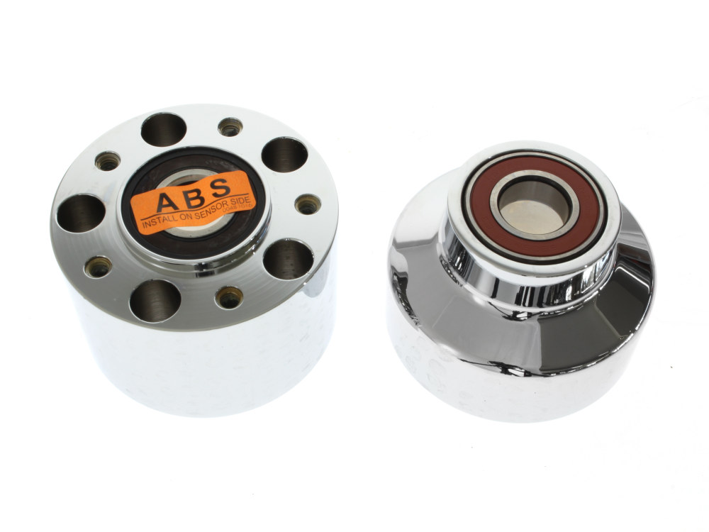 Front Wheel Hub with Chrome Finish. Fits Dyna Wide Glide & FLD 2012up Models with ABS.