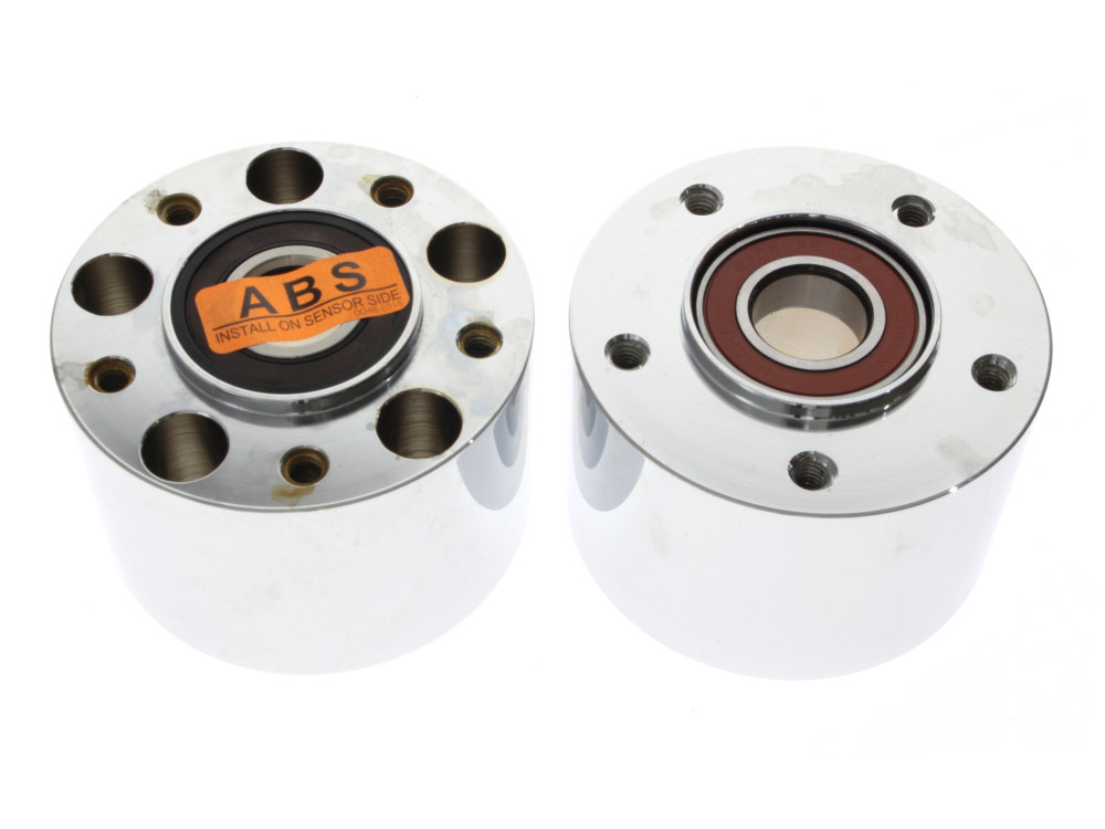 Front Wheel Hub with Chrome finish. Fits Touring 2008up with ABS & Dual Disc Rotors.