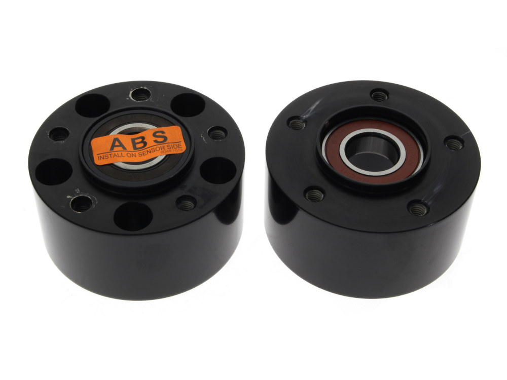 Front Wheel Hub with Black Finish. Fits V-Rod 2008up & Dyna Low Rider 2014up with ABS & Dual Disc Rotors.