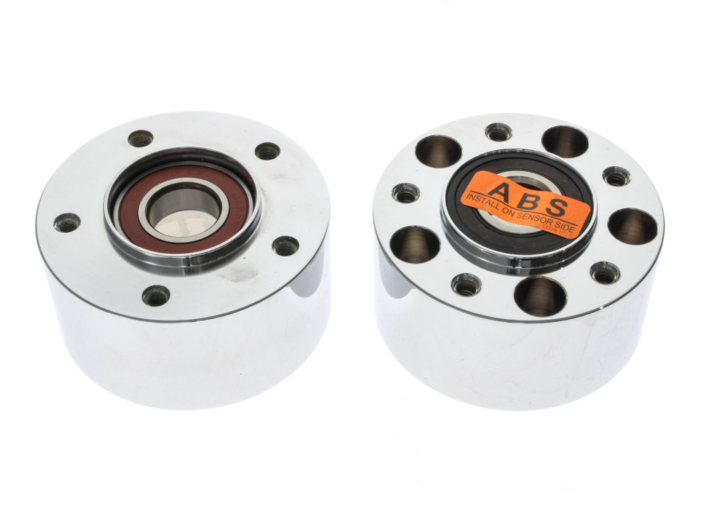 Front Wheel Hub with Chrome Finish. Fits V-Rod 2008up & Dyna Low Rider 2014up with ABS & Dual Disc Rotors.