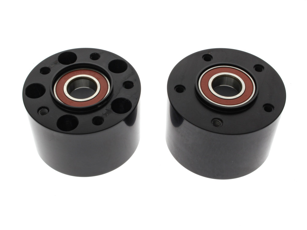 Front Wheel Hub with Black Finish. Fits Dyna Fat Bob 2008-2011 with Dual Disc Rotors.