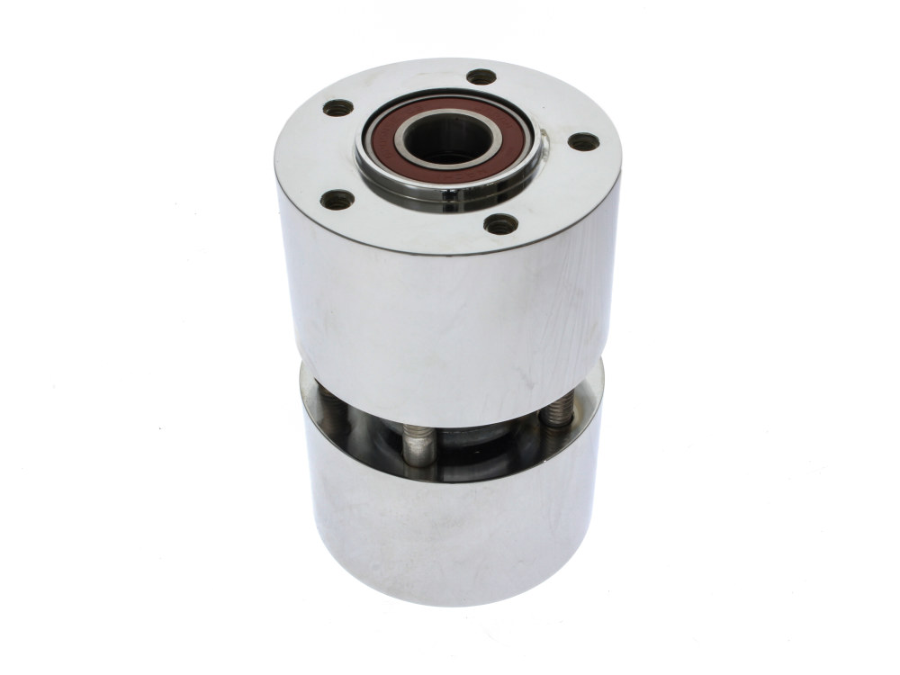 Front Wheel Hub with Chrome Finish. Fits Dyna Fat Bob 2012up with ABS & Dual Disc Rotors. Also Fits CVO Breakout 2016.