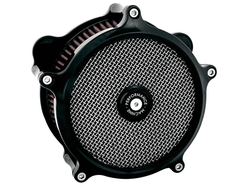 Air Filter Assembly; Big Twin'93up with E or G Carburettor. Super Gas with High Flow Element & Black Finish