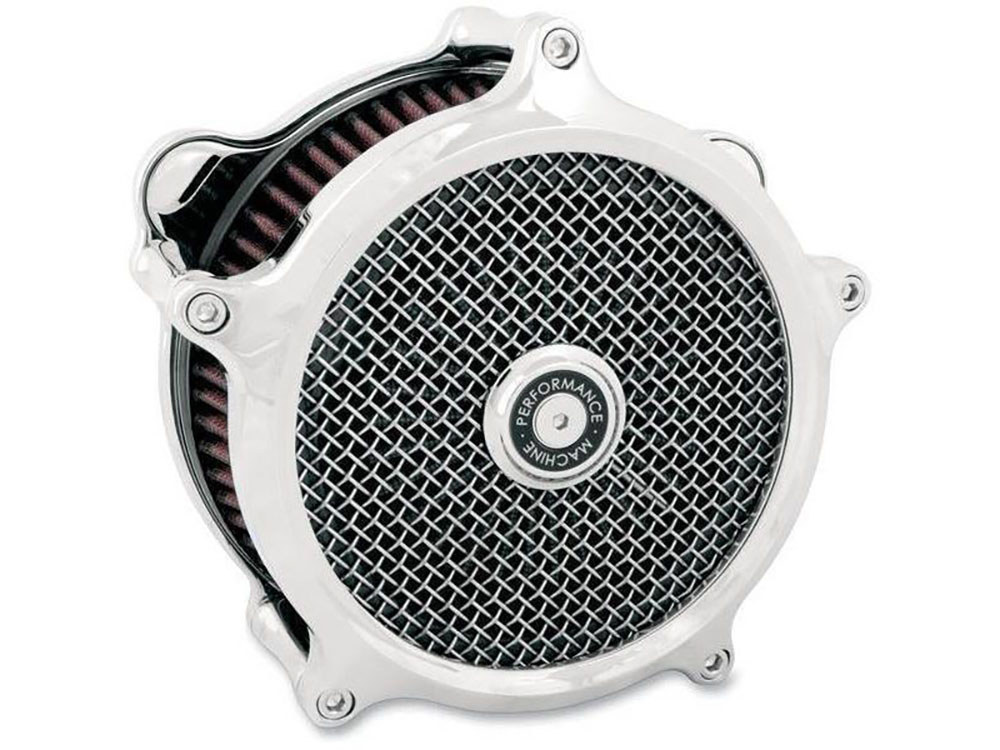Air Filter Assembly; Big Twin'93up with E or G Carburettor. Super Gas with High Flow Element & Chrome Finish.