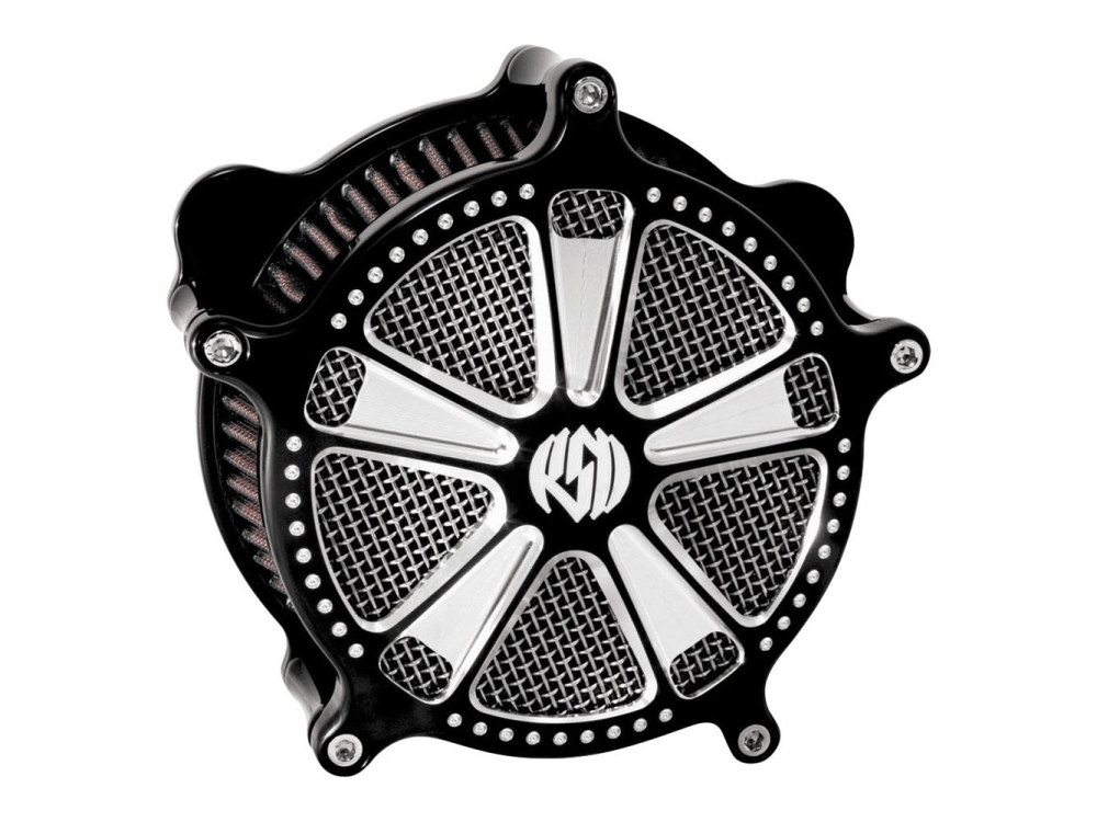 Air Filter Assembly; Sportster'91up. RSD Judge with High Flow Element & Black Contrast Cut Finish.