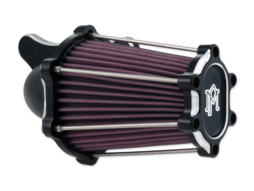 Air Filter Assembly; Big Twin'93up with E or G Carburettor. Fast Air with High Flow Element & Black Contrast Cut Finish.     Includes  Twin Cam.