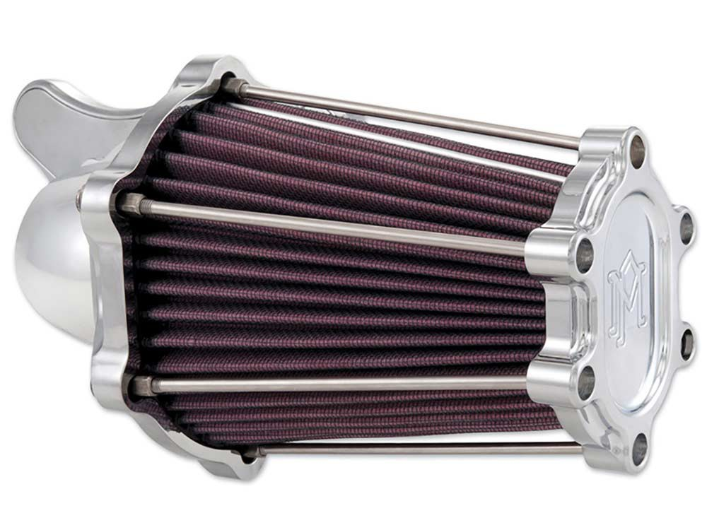 Performance Machine Air Filter Assembly; Big Twin'93up with S&S E or G Carburettor. Fast Air with High Flow Element & Chrome Finish.  Iincludes  Twin Cam