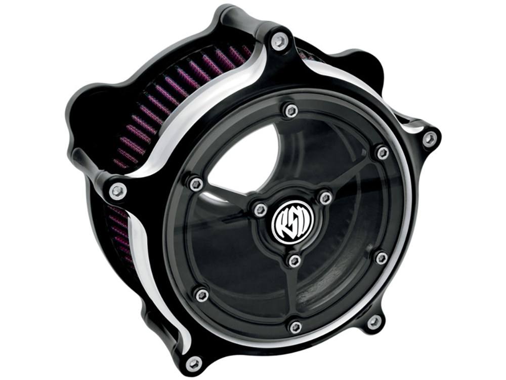 Performance Machine Air Filter Assembly; Twin Cam'08-17 with TBW & Twin  Cam'06-17 with Screaming Eagle 58mm Throttle Body Upgrade. RSD Clarity with High Flow Element & Black Contrast Cut Finish.