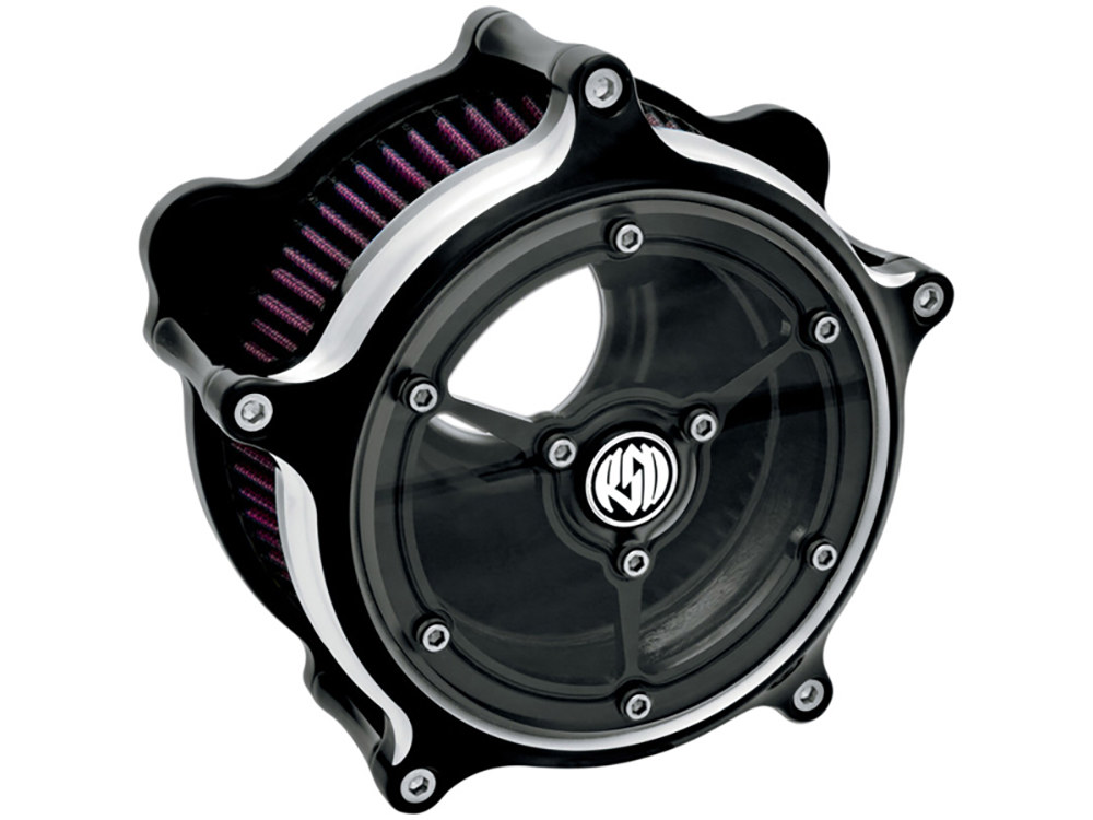 Air Filter Assembly; Sportster'91up. RSD Clarity with High Flow Element & Black Contrast Cut Finish.
