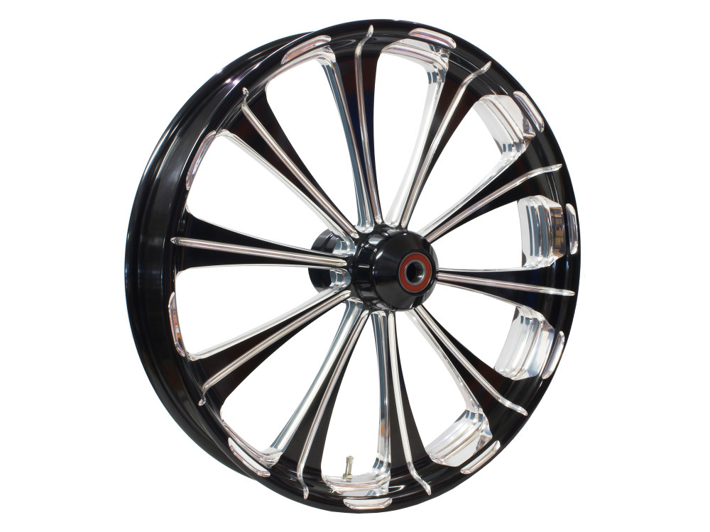 21in. x 3.50in. wide Revel Wheel with Front Hub – Black Contrast Cut Platinum. Fits Breakout 2013up with ABS.