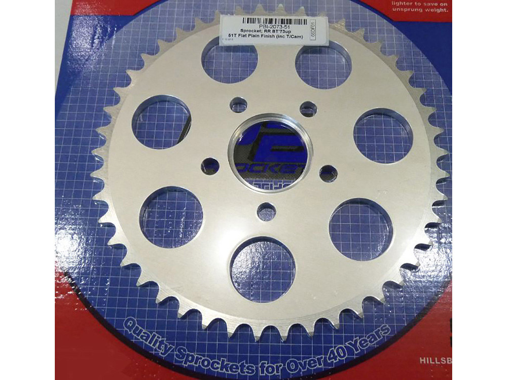 Rear Chain Sprocket, BT'73up 51T Flat (inc T/Cam) Plain Alloy Finish