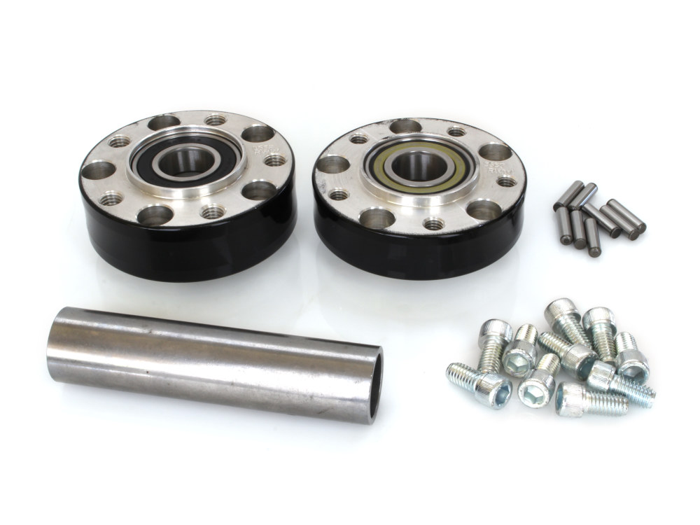 Rear Wheel Hub with Black Finish. Fits Ride Wright Spoke Wheel on Dyna 2012up & Touring 2008 with ABS & 25mm Axle.