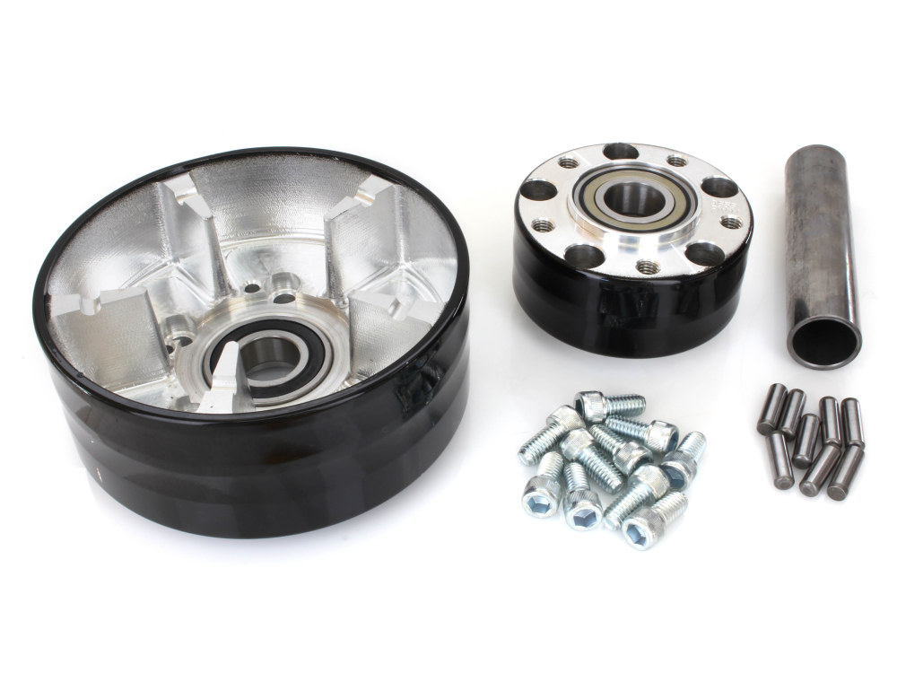 Rear Wheel Hub with Black Finish. Fits Ride Wright Spoke Wheel on Touring 2009up with Cush Drive Puilley & ABS.