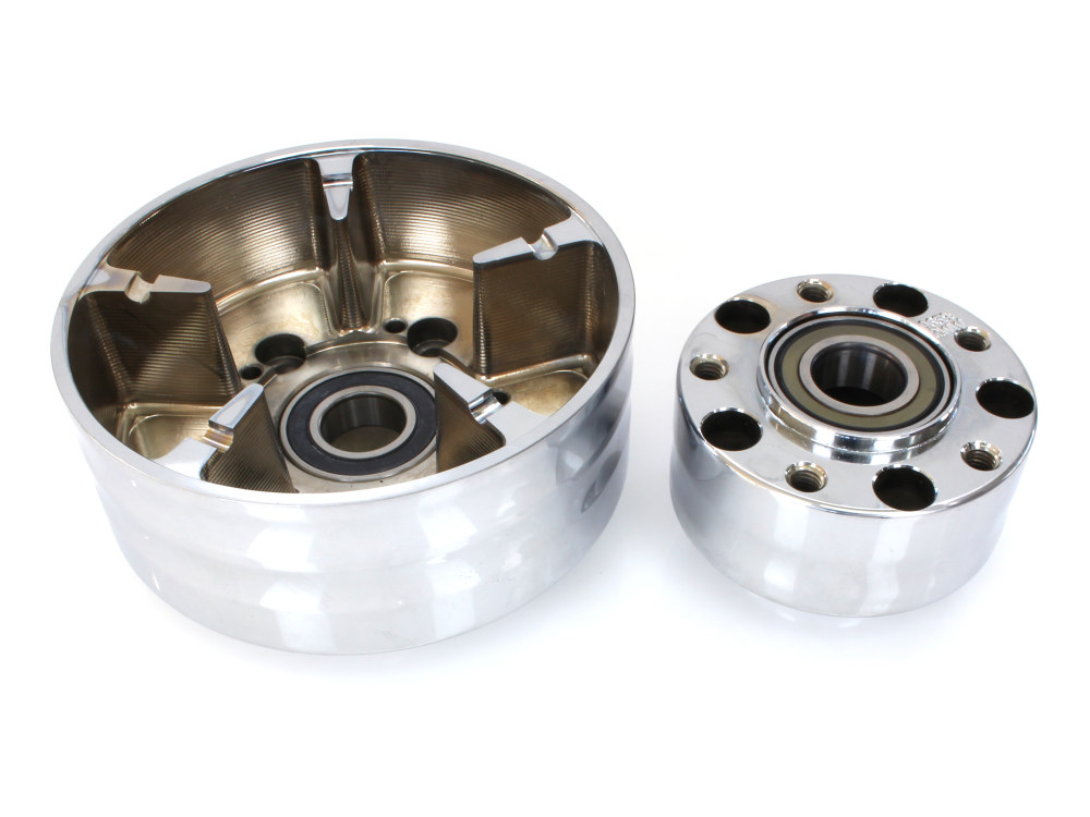 Rear Wheel Hub with Chrome Finish. Fits Ride Wright Spoke Wheel on Touring 2009up  with Cush Drive Puilley & ABS.