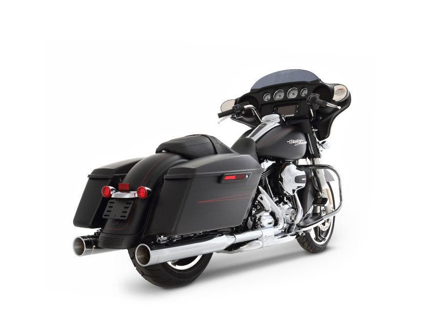 MotoPro 45 Slimline Dual Exhaust - Chrome with Chrome MP45 End Caps. Fits Touring 2009-2016.