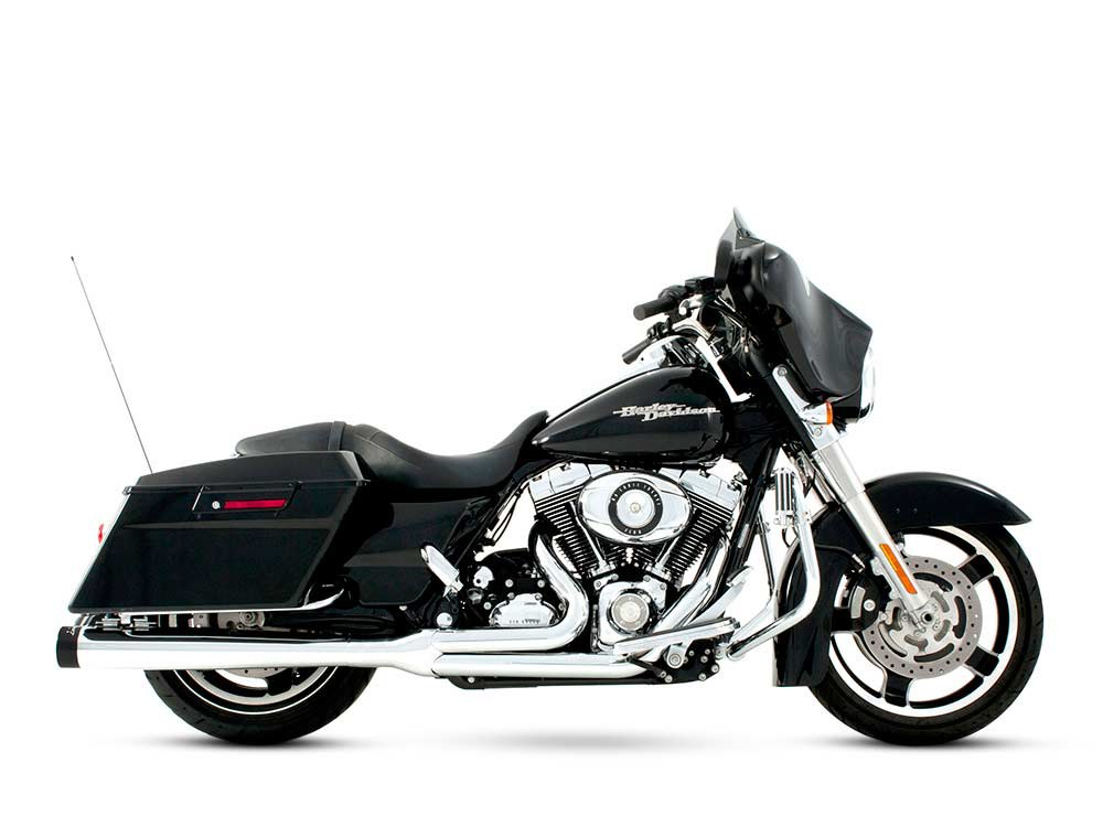 2-into-1 Exhaust with Chrome Finish & Black End Cap. Fits Touring 2009-2016.