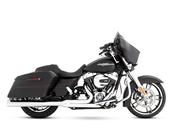 2-into-1 Exhaust with Chrome Finish & Chrome End Cap. Fits Touring 2009-2016.
