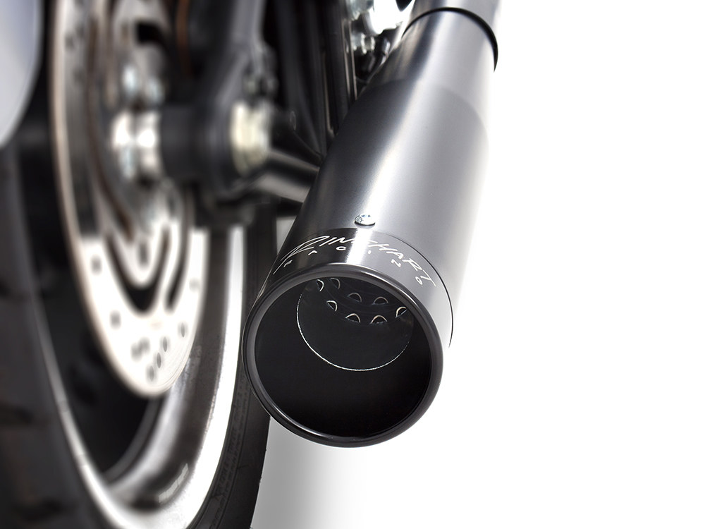 2-into-1 Exhaust with Black Finish & Black End Cap. Fits Softail 1986-2017.