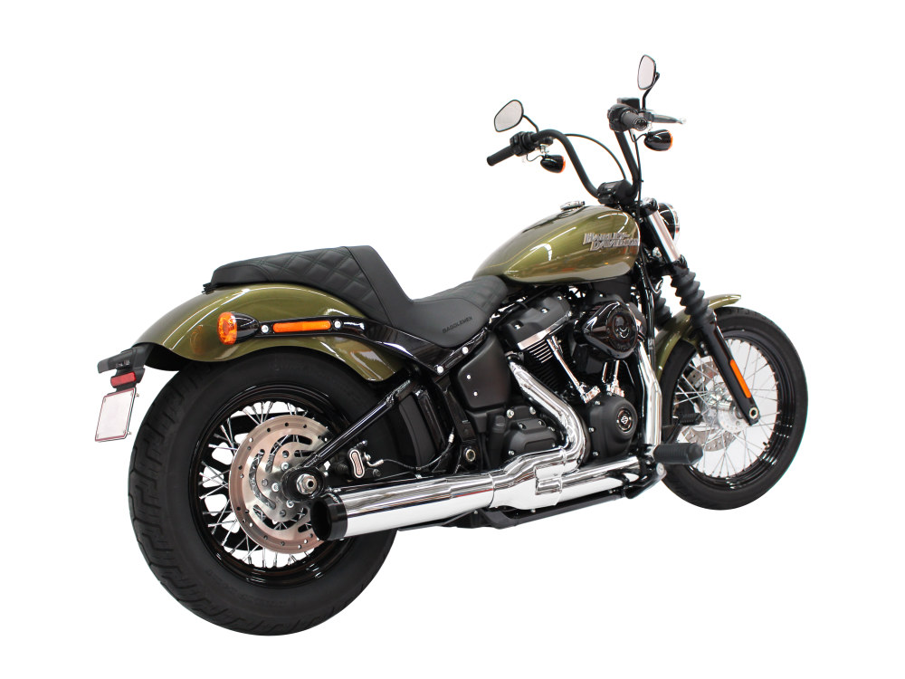 2-into-1 Exhaust - Chrome with Black End Cap. Fits Deluxe, Softail Slim, Street Bob, Low Rider & Fat Bob 2018up.