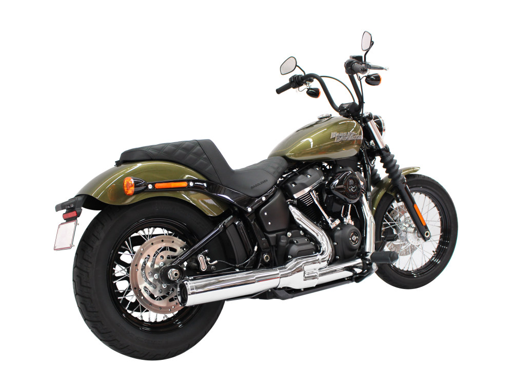 2-into-1 Exhaust with Chrome Finish & Chrome End Cap. Fits Deluxe, Softail Slim, Street Bob, Low Rider, Fat Bob 2018up Models.