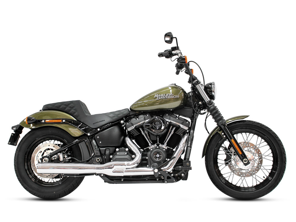 2-into-1 Exhaust - Chrome with Chrome End Cap. Fits Deluxe, Softail Slim, Street Bob, Low Rider, Fat Bob 2018up.