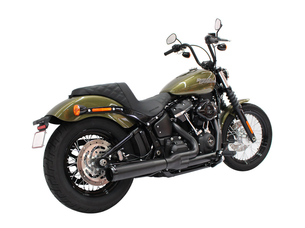 2-into-1 Exhaust - Black with Black End Cap. Fits Deluxe, Softail Slim, Street Bob, Low Rider, Fat Bob 2018up.