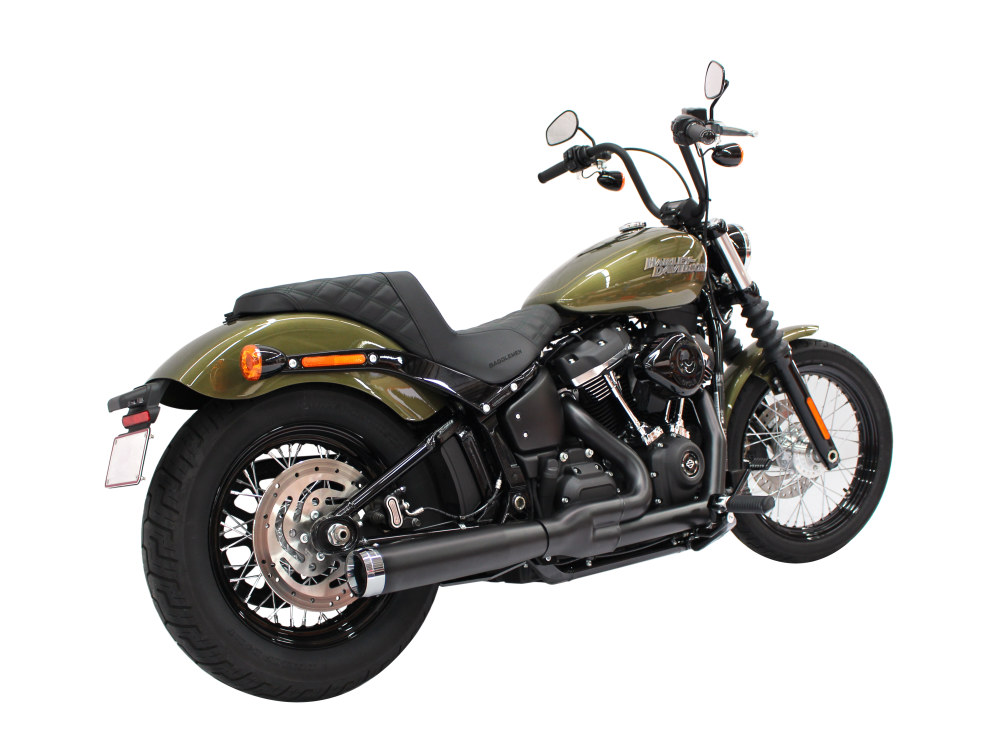 2-into-1 Exhaust - Black with Chrome End Cap. Fits Deluxe, Softail Slim, Street Bob, Low Rider, Fat Bob 2018up & Standard 2020up.