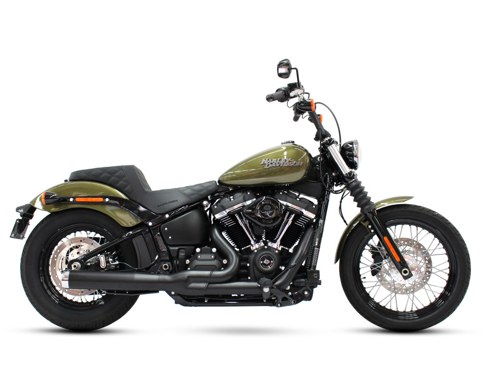 2-into-1 Exhaust - Black with Chrome End Cap. Fits Deluxe, Softail Slim, Street Bob, Low Rider, Fat Bob 2018up.