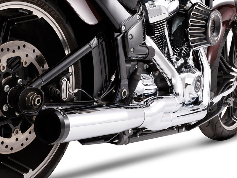 2-into-1 Exhaust with Chrome Finish & Black End Cap. Fits Heritage Classic, Sport Glide, Fat Boy & Breakout 2018up Models.