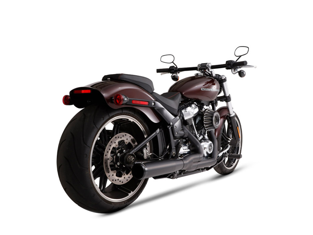 2-into-1 Exhaust - Black with Black End Cap. Fits Heritage Classic, Sport Glide, Fat Boy & Breakout 2018up.